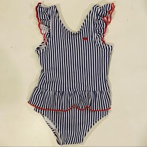 Carter's Navy White Ruffle Swimsuit Red Heart 18mo